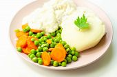 Cod Fillet With A Creamy Cheese Sauce, With Mashed Potato, Peas And Carrots, Traditional British Mea poster