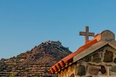 A View Of Stavrovouni Hilltop Monastery In Cyprus poster