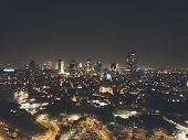Illuminated Night City, Tel Aviv, Israel. Residential Districts And Business Centre Of The Metropoli poster