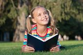 Only The Best Knowledge. Adorable Small Child Gain Read Book For Knowledge. Knowledge Day. September poster