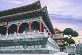 Exterior Of Chinese Temple At Sunset, Twilight Time At Chinese Temple, It Is Chinese Style Architect poster