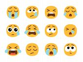 Yellow Crying Emoji Faces. Cry Face Set, Vector Crier Emojies With Tears, Pain Or Sad Emoticons, Sad poster