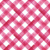 Watercolor Diagonal Stripe Plaid Seamless Texture. Pink Red Stripes On White Background. Watercolour poster