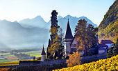 Swiss, Yvorne, 27 Octobre 2017, Famous Castle Chateau Maison Blanche  In Canton Vaud, Switzerland, S poster