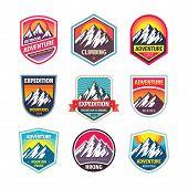 Mountain Logo Badge Set. Adventure Outdoor Logo Creative Vintage Emblem Collection. Climbing Logo De poster