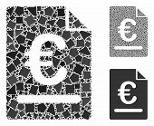 Euro Invoice Mosaic Of Tremulant Items In Various Sizes And Color Tinges, Based On Euro Invoice Icon poster