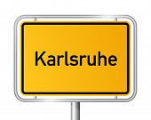 City limit sign KARLSRUHE against white background - Baden Wuerttemberg, Baden W�?�¼rttemberg, Germany