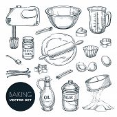 Baking Ingredients And Kitchen Utensil Icons. Vector Hand Drawn Sketch Illustration. Cooking And Rec poster