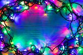 Christmas background with lights and free text space. Christmas lights. Glowing colorful Christmas l poster