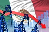 Mexico Oil Industry Concept, Industrial Illustration - Lowering, Falling Graph On Mexico Flag Backgr poster
