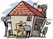 picture of cheater  - Cartoon scene of 4 thieves break into house - JPG