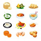 Colorful realistic icons of chinese popular food