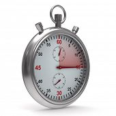 Stopwatch on white background. Isolated 3D image