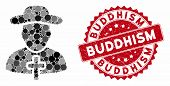 Mosaic Christian Priest And Grunge Stamp Seal With Buddhism Caption. Mosaic Vector Is Designed With  poster