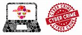 Mosaic Cyber Crime And Rubber Stamp Seal With Cyber Crime Phrase. Mosaic Vector Is Created With Cybe poster