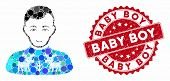 Mosaic Deers Pullover Boy And Corroded Stamp Seal With Baby Boy Phrase. Mosaic Vector Is Designed Fr poster