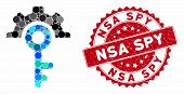 Collage Key Options And Rubber Stamp Seal With Nsa Spy Text. Mosaic Vector Is Formed With Key Option poster