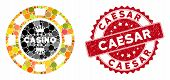 Mosaic Royal Casino Chip And Grunge Stamp Seal With Caesar Text. Mosaic Vector Is Created From Royal poster