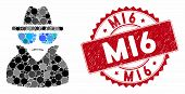 Collage Spy And Grunge Stamp Seal With Mi6 Text. Mosaic Vector Is Designed With Spy Icon And With Ra poster