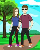 A Man And A Woman Strolling In The Garden Both Are Husband And Wife. The Husband Is Blind. With A Wi poster