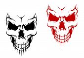 stock photo of cranium  - Smiling skull in black and red versions for t - JPG