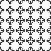 Abstract Seamless Pattern Of Crosses. Regularly Repeating Symmetric Geometric Shapes, Symbols. Monoc poster