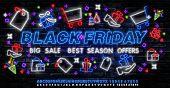 Black Friday Sale Neon Banner Vector. Black Friday Neon Sign, Design Template, Modern Trend Design,  poster