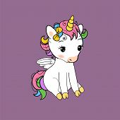 Cute Little Unicorn Sitting Print. Baby Unicorn Isolated Vector Icon. Fantasy Horse Sticker, Patch B poster