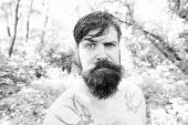 Brutal And Rugged. Hairy Hipster Wearing Long Beard And Mustache In Brutal Style. Bearded Man With B poster
