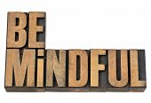 Be mindful  - isolated text in vintage letterpress wood type