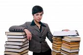 girl with stack of books and planchette