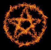 orange flame pentagram isolated on black background
