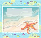 Orange starfish on a sea background. photography waves on the beach. shoals of small fish.