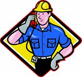 foto of lineman  - illustration of a telephone repairman lineman worker talking on phonek done in cartoon style - JPG