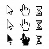 stock photo of pixel  - Pixel cursors icons - JPG