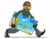stock photo of sneak  - Hacker or thief stealing credit card for internet security and banking concept design - JPG