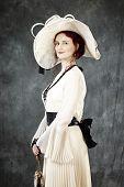 Nice woman in retro dress style