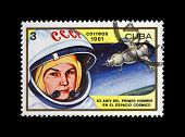 Cuba - Circa 1981: Canceled Stamp Printed In Cuba, Shows Soviet Astronaut Valentina Tereshkova - 1S