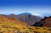 Caldera de Taburiente en Roque Muchachos en la isla canaria de La Palma