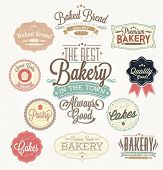 foto of donut  - Vintage Retro Bakery And Sweets Badges And Labels - JPG