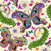 stock photo of lilas  - Seamless valentine pattern with colorful vintage butterflies and flowers and hearts  - JPG