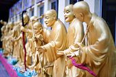 Statues sat Ten Thousand Buddhas Monastery in Sha Tin, Hong Kong, China.