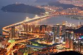 Skyline of Busan, South Korea at night.