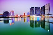 Resorts and casinos along the skyline of Macau, China.