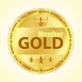 stock photo of first class  - Badge with title Gold member image of crown and three golden stars - JPG