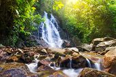 Beautiful Sai Rung waterfall in Thailand