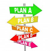 The words Plan A, B, C, D and E on colorful street or road signs pointing you to alertnate strategy