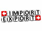 3D Import Export Button Click Here Block Text