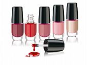 Vector colors nail lacquer bottles with an open cap