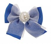 Blue bow tie with lace and pearl